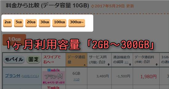 1ヶ月利用容量「2GB~300GB」