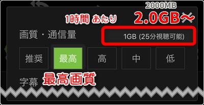 最高画質は「1時間あたり2.0GB~」