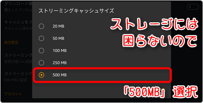 「500MB」選択