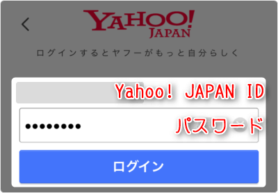 「Yahoo!JAPAN ID」「パスワード」を入力して「ログイン」タップ