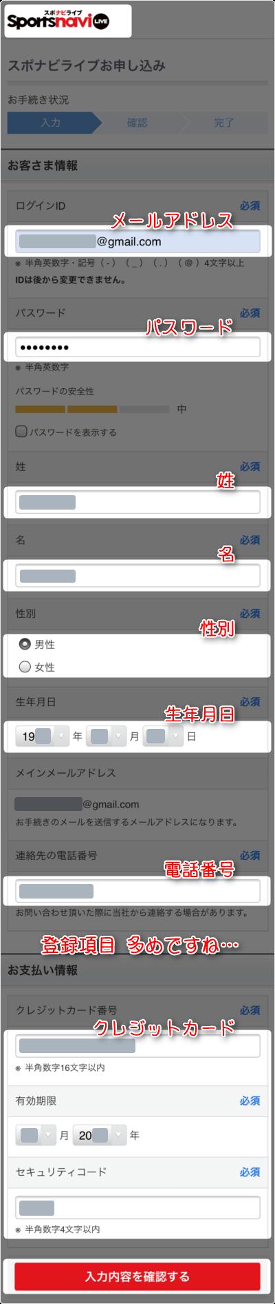 「メールアドレス」「パスワード」「姓名」「性別」「生年月日」「電話番号」「クレジットカード番号」を入力後に、「入力内容を確認する」タップ