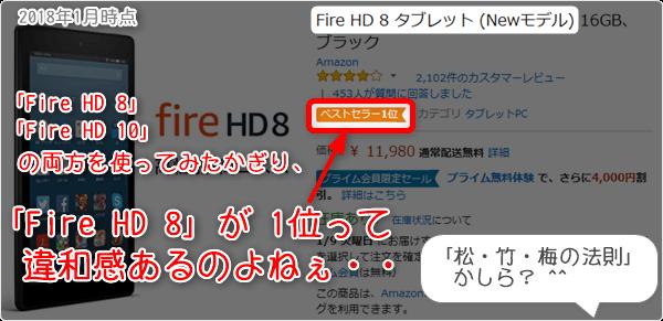 「Fire HD 8」が1位って 違和感あるのよねぇ・・