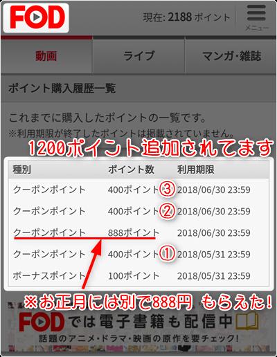 1200ポイント追加されてます ※お正月には別で888円もらえた