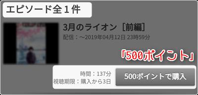 3月のライオン (前編) 500ポイント