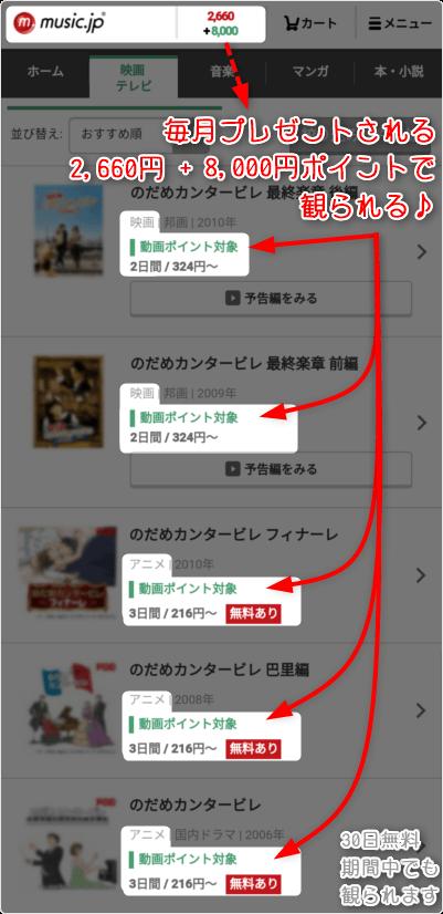 アニメ のだめカンタービレ - 毎月プレゼントされる2,660円+8,000円ポイントで観られる