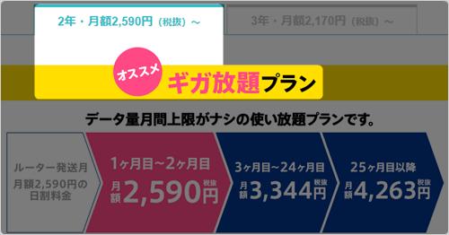 「2年・ギガ放題」プラン