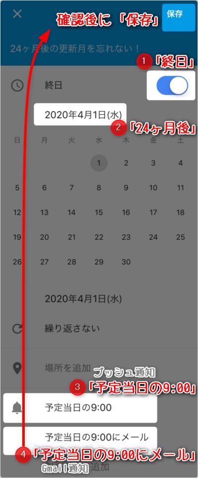 ①「終日」②「24ヶ月後」③「予定当日の9:00」にプッシュ通知、④「予定当日の9:00にメール」のGmail 通知