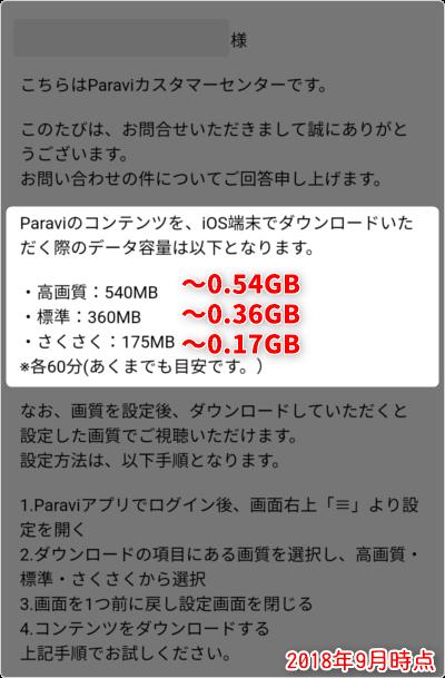 「さくさく ~0.17GB」「標準 ~0.36GB」「高画質 ~0.54GB」