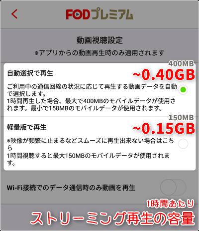 ストリーミング再生の容量 (通信量)は、1時間あたり「自動選択 ~0.40GB」「軽量版 ~0.15GB」が目安