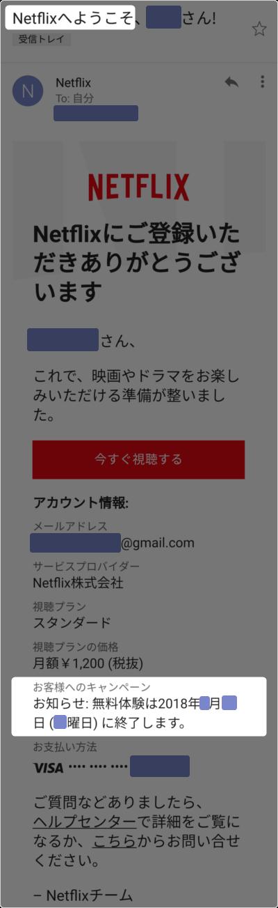 Netflix無料体験期限をメールで確認